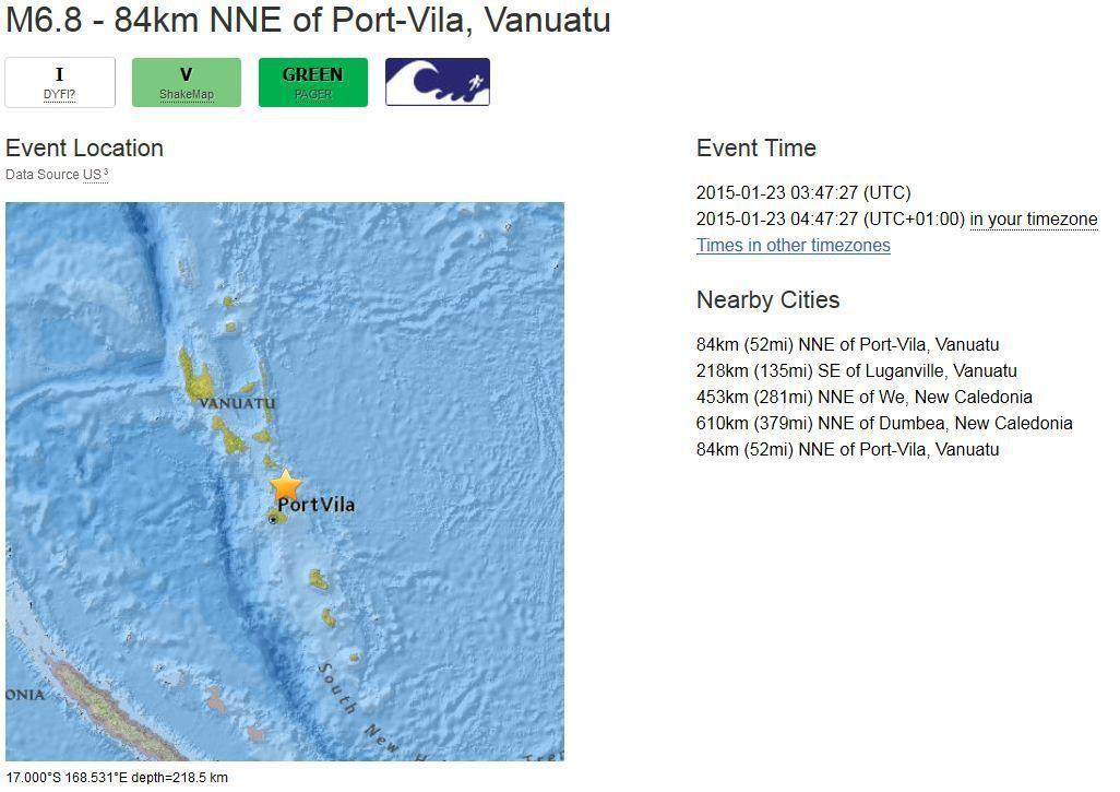 tremblement de terre Port-Vila, Vanuatu M7
