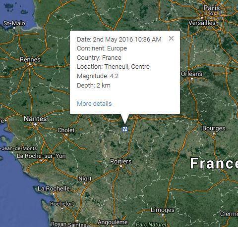 Dormez je veille Tremblement de terre M4.2 Indre Et Loire entre L'Ile Bouchard et Théneuil