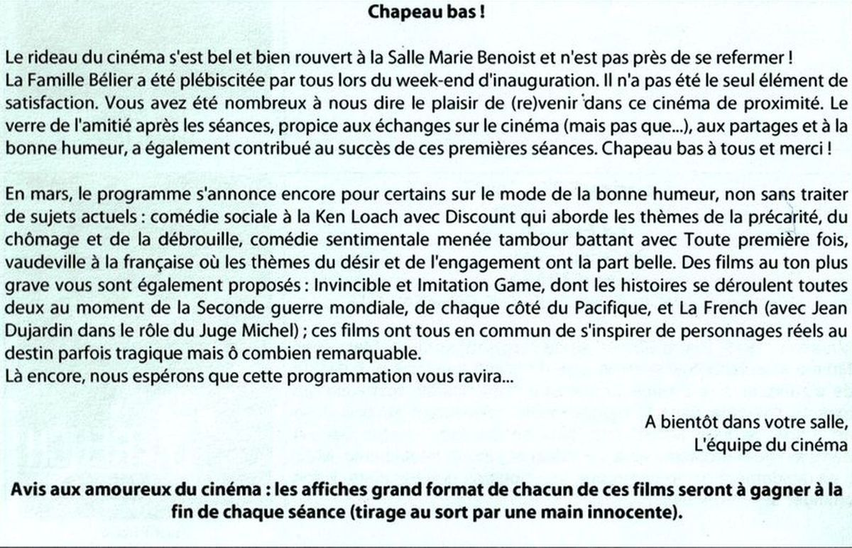 Cinéma à Bains les Bains