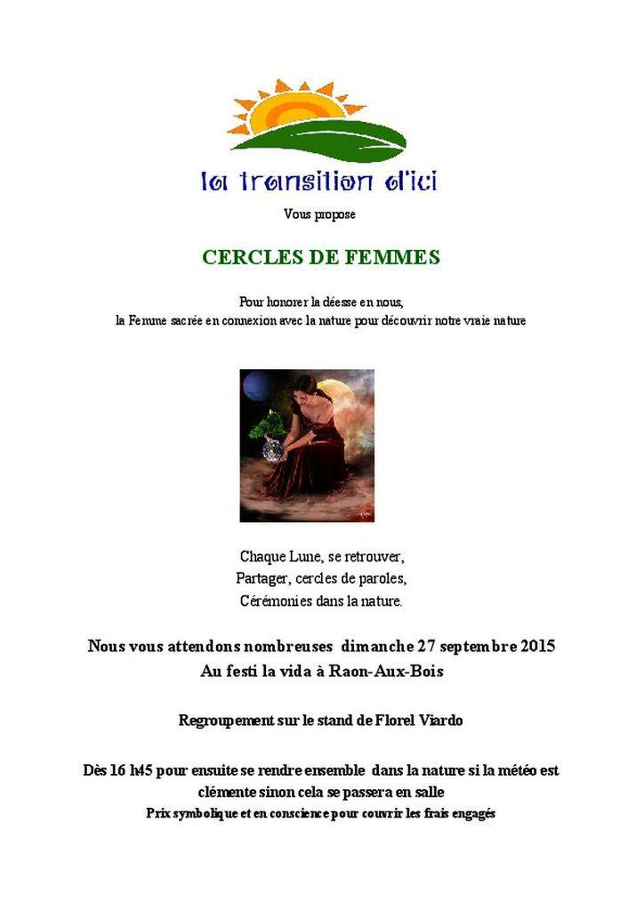La transition d'ici propose cercle de femmes dimanche 27 septembre à festi la vida