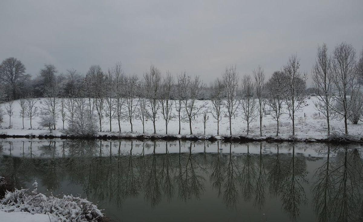 La neige tombe, indiscontinûment, Comme une lente et longue et pauvre laine,