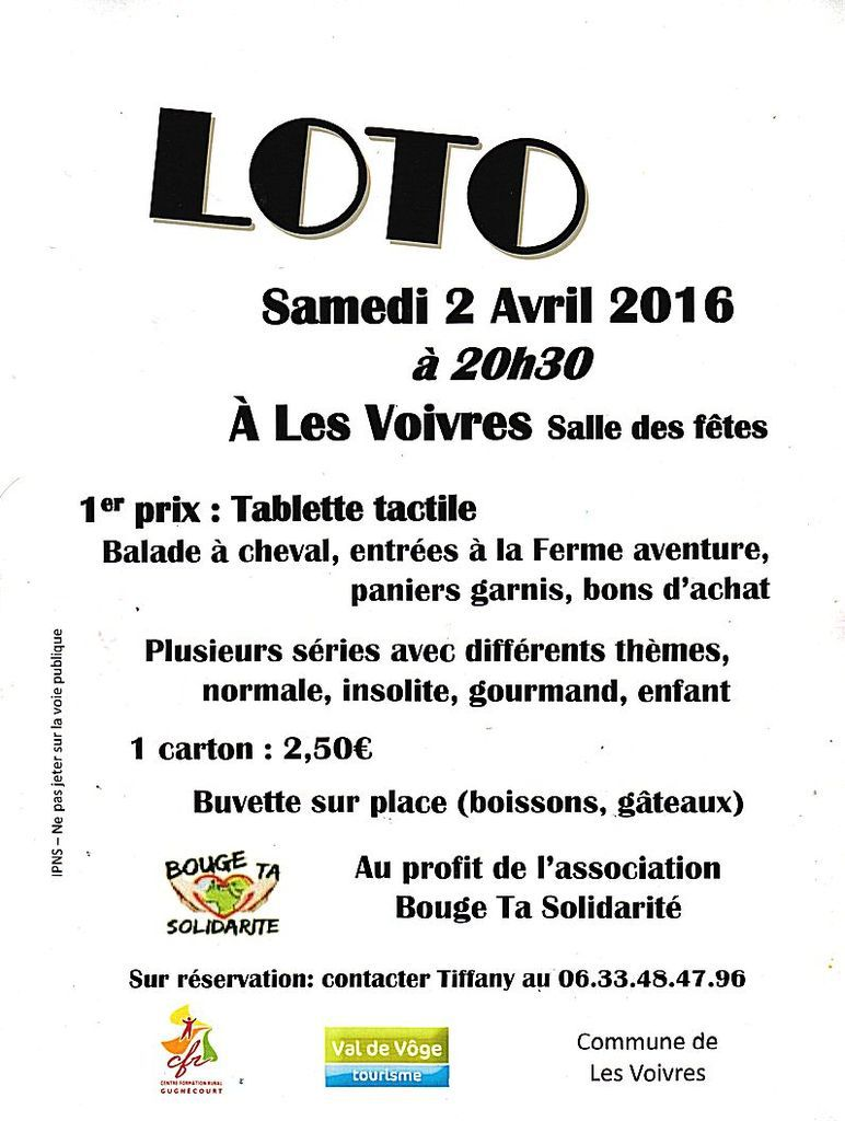 Loto à Les Voivres, samedi 2 avril