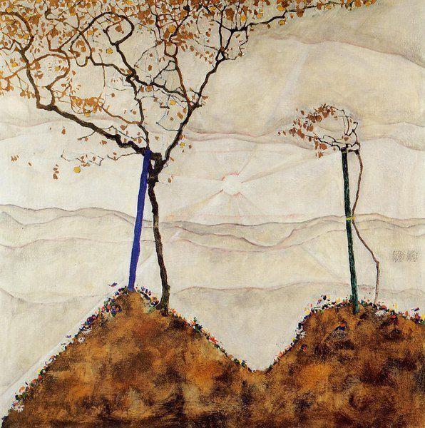 """E. Schiele, """"Soleil d'automne I """", huile sur toile, 1912"""