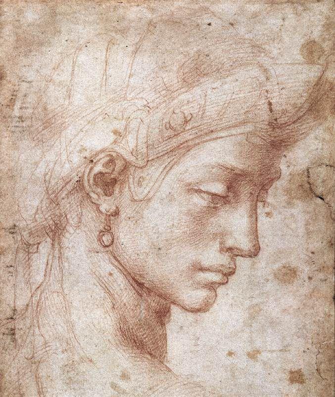"""Michel-Ange, """"Visage idéal""""(1512-1530), sanguine, 20,3 × 16,5 cm, Galerie des Offices, Florence."""