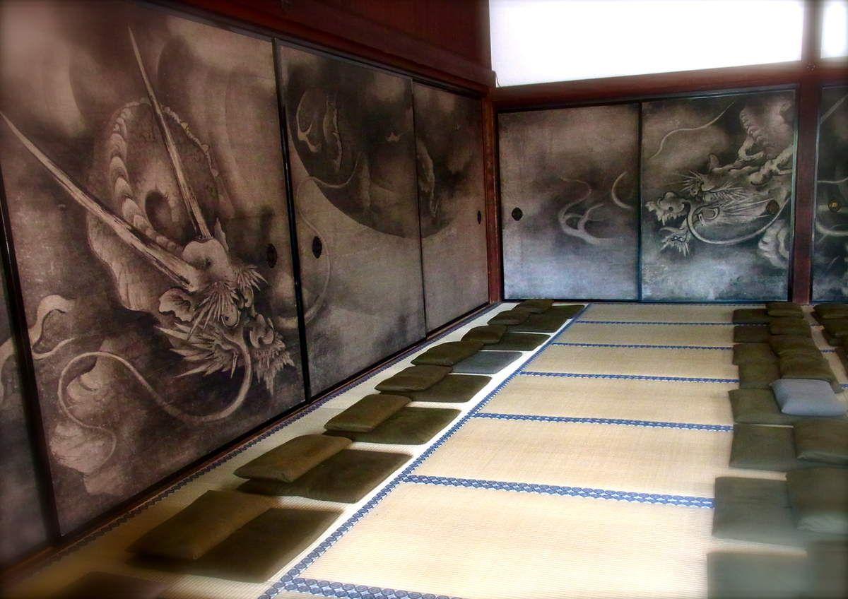 Portes coulissantes peintes : Dragons des nuages de Kaihô Yûshô (ère Momoyama 1573-1603)  classé Bien Culturel Important