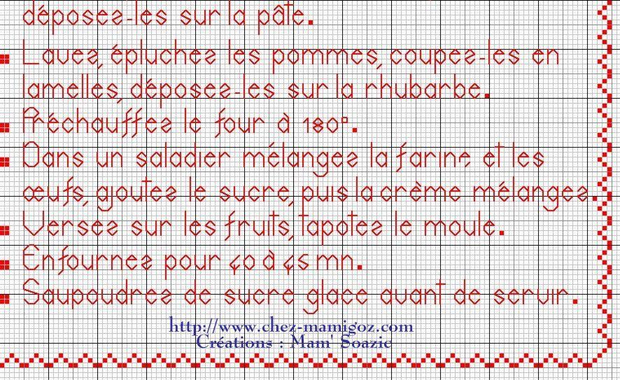 Livre Recettes Brodées de Mamigoz: Tarte Alsacienne Pomme-Rhubarbe