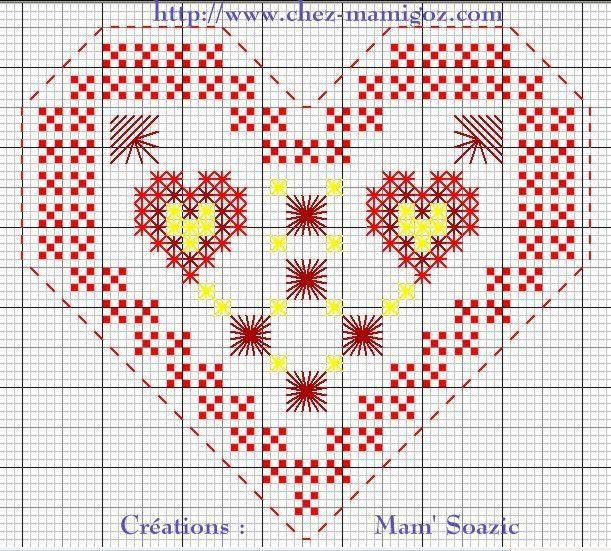 Cœur entier à broder ST Valentin, Point fantaisie
