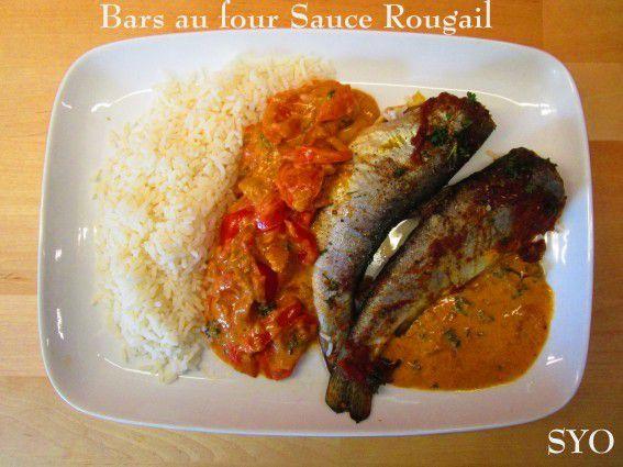 Bars au four, tomates , Sauce Rougail