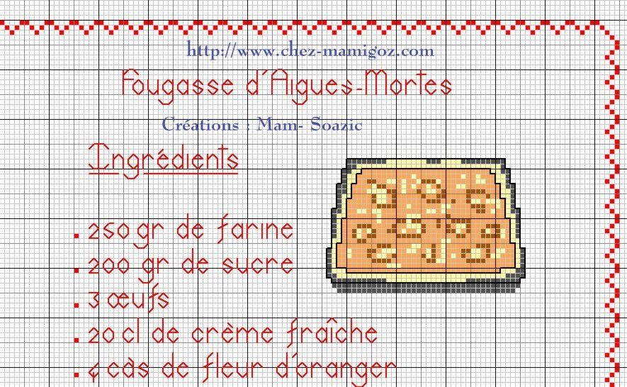 Livre Recettes Brodées de Mamigoz: la Fougasse d'Aigues-Mortes