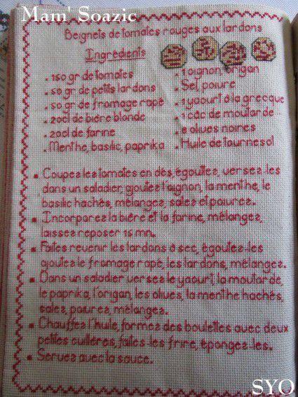 Livre Recettes Brodées de Mamigoz: Beignets de Tomates rouges