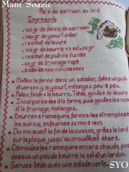 Livre Recettes Brodées de Mamigoz: Farz de sarrasin au lard