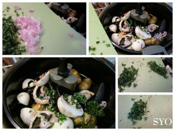 Merguez  pomme de terre, olive et champignon à l'Actifry