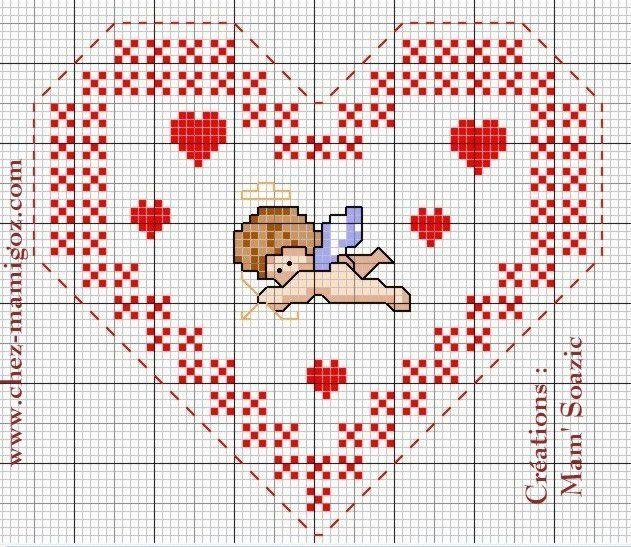 Cœur à broder Saint Valentin 2018: Cupidon
