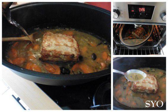 Filet de porc aux pruneaux et Massalé, cuit au four, en cocotte