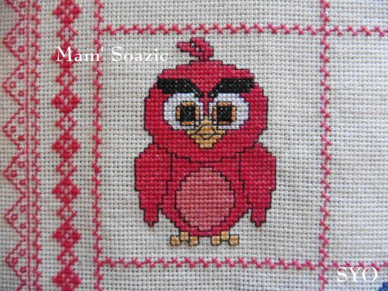 Plaid Chouette brodée 125  :  Chouette Angry Birds