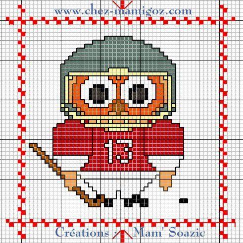 Plaid Chouette brodée 153:  Chouette Hockey sur glace
