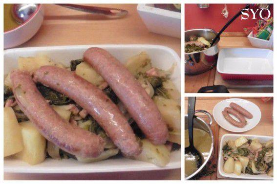 Saucisses au Chou Perpétuel et pommes de terre
