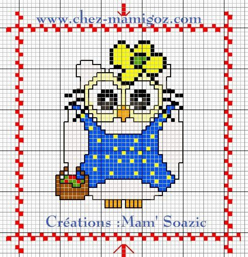 Plaid Chouette brodée 127 :  Chouette Hello Kitty Bleue