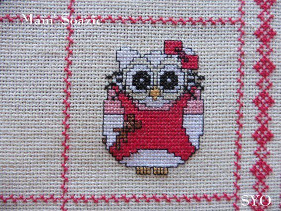 Plaid Chouette brodée 128 :  Chouette Hello Kitty rouge
