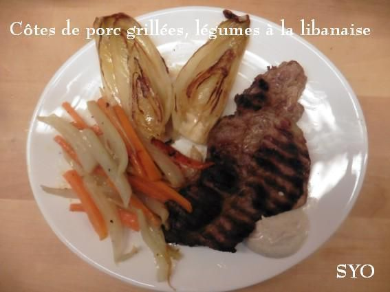 Côtes de Porc grillées aux légumes à la Libanaise