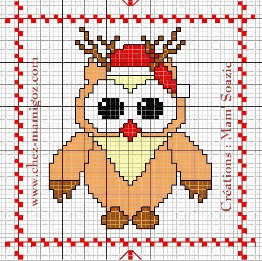 Plaid Chouette brodée 166 :  Rudolphe, le Renne du Père Noël.