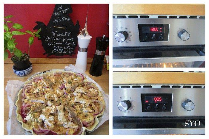 Tarte gratinée Chèvre frais, Oignon rouge, Tomate, anchois
