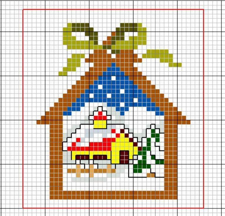 Déco sapin de Noël: Petit chalet 2 face A