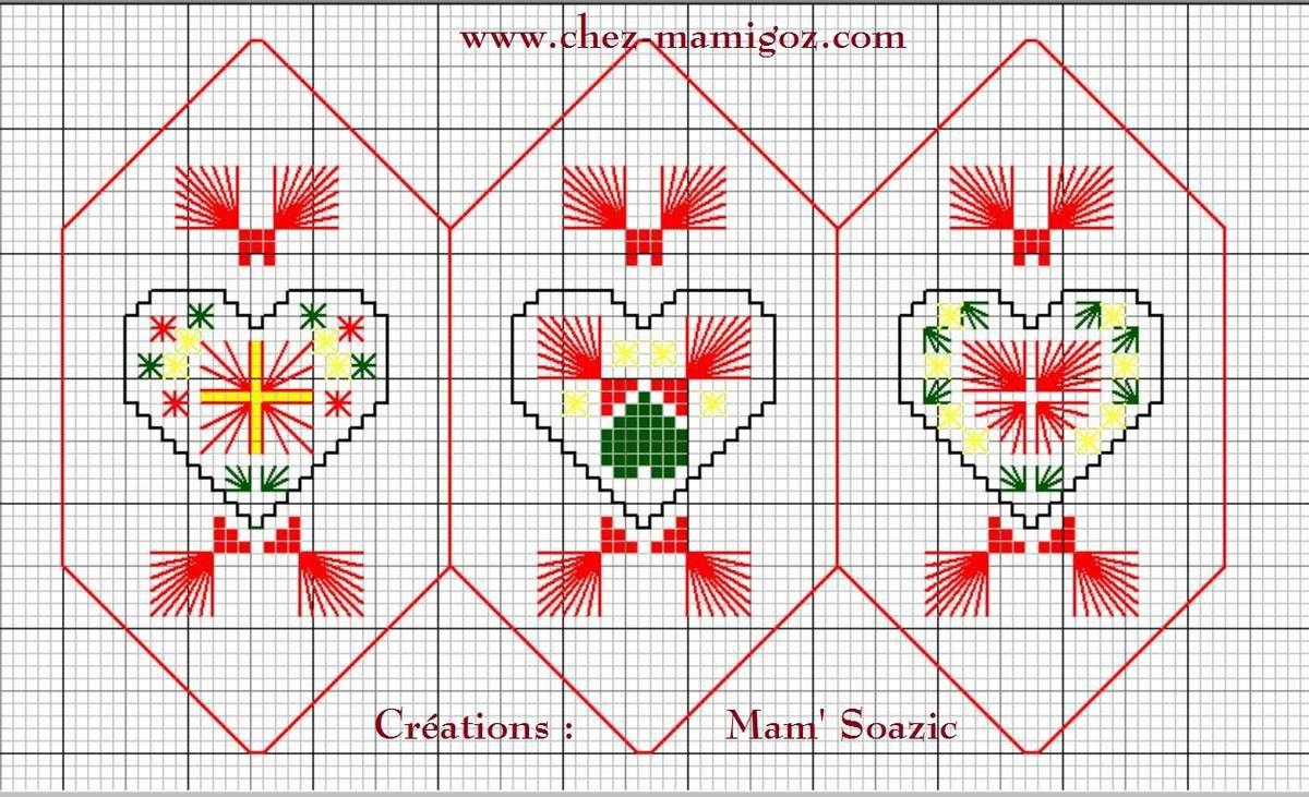 Pendouillou de Noël: Trois Cœurs Fantaisie