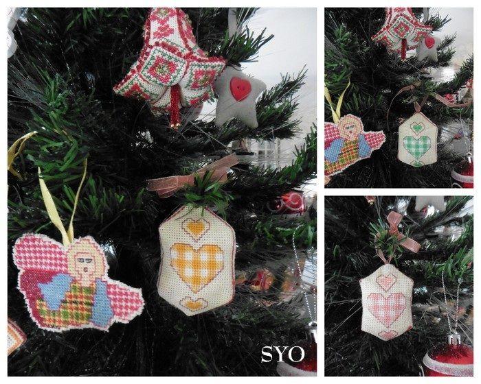 Pendouillou 3 Cœurs Vichy de Noël, point tissage
