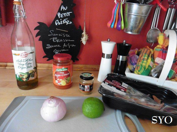 Saucisse brasse au Colombo, sauce Aigre-Douce