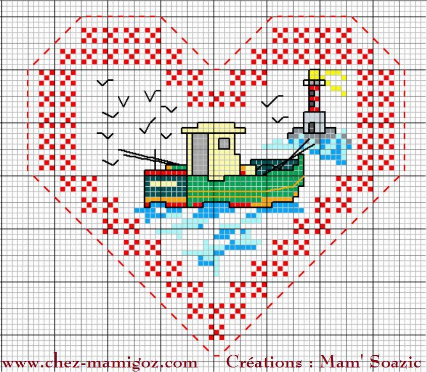 Cœur Valentin Bateaux de pêche  : face A