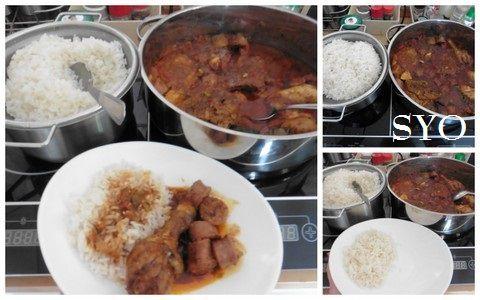 Poulet et saucisse en rougail, riz créole