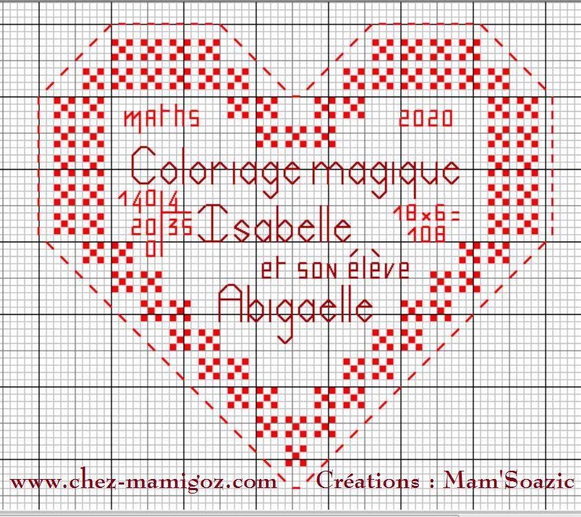 Un Cœur pour le coloriage magique d'Isabelle / Madame S.  et Abigaëlle