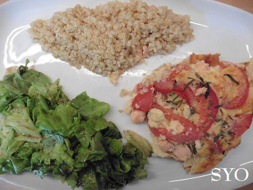 Quiche sans pâte Saumon, Tomate, Sarriette