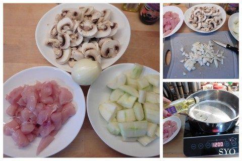 Aiguillettes de poulet, concombre, champignons façon asiatique