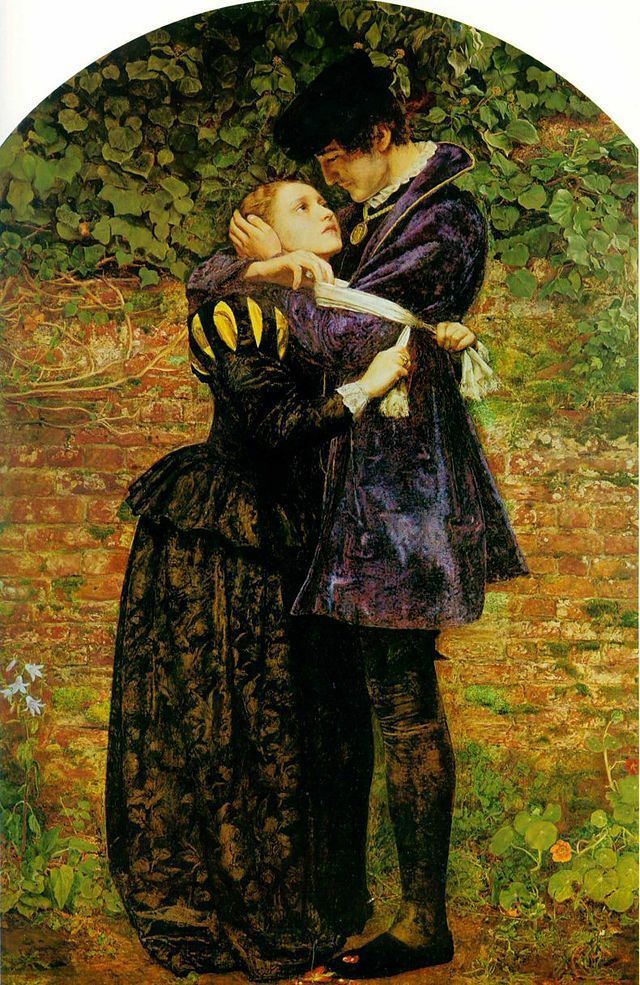 Un Huguenot, le jour de la Saint-Barthélemy, qui refuse de se protéger du danger en portant le signe catholique (A Huguenot, on St. Bartholomew's Day, Refusing to Shield Himself from Danger by Wearing the Roman Catholic Badge), peint par John Everett MILLAIS, d'après Wikimedia commons.