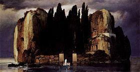 L'île des Morts, d'après https://upload.wikimedia.org/wikipedia/commons/thumb/7/74/Arnold_B%C3%B6cklin_006.jpg/280px-Arnold_B%C3%B6cklin_006.jpg