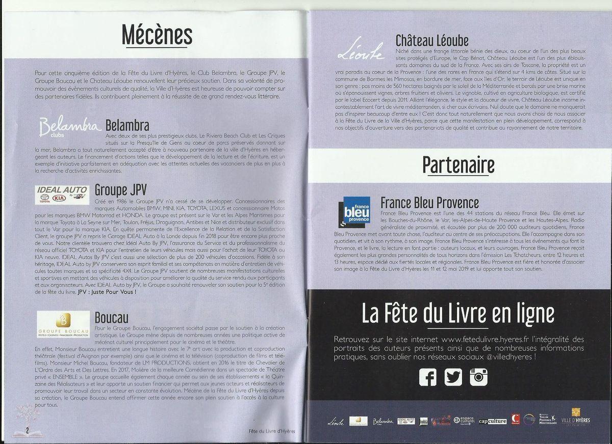 Hyères - Fête du Livre 2019 - Guide officiel - Pages 2 et 3