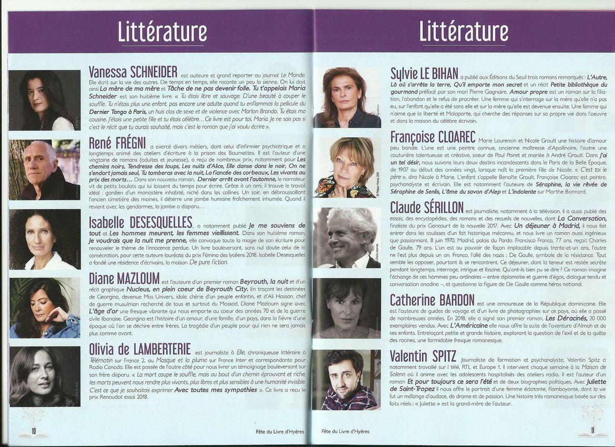Hyères - Fête du Livre 2019 - Guide officiel - Pages 10 et 11