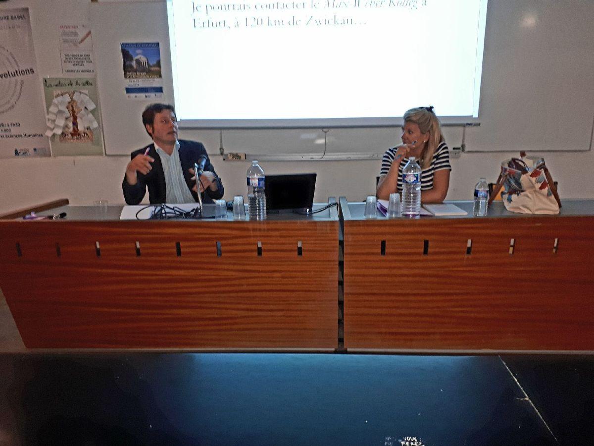 Colloque: « Julien GREEN et la formation de l'esprit » - De gauche à droite: Monsieur Thomas EDELING et Madame Emmeline GROS - Amphithéâtre Y.002 - Bâtiment Y - Campus de La Garde - Université de Toulon - mercredi 29 mai 2019
