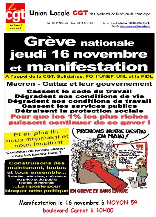 Grève nationale le 16 novembre