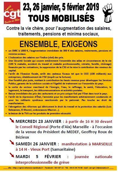 CGT Bouches du Rhône : 23, 26 janvier ... 5 Février ...