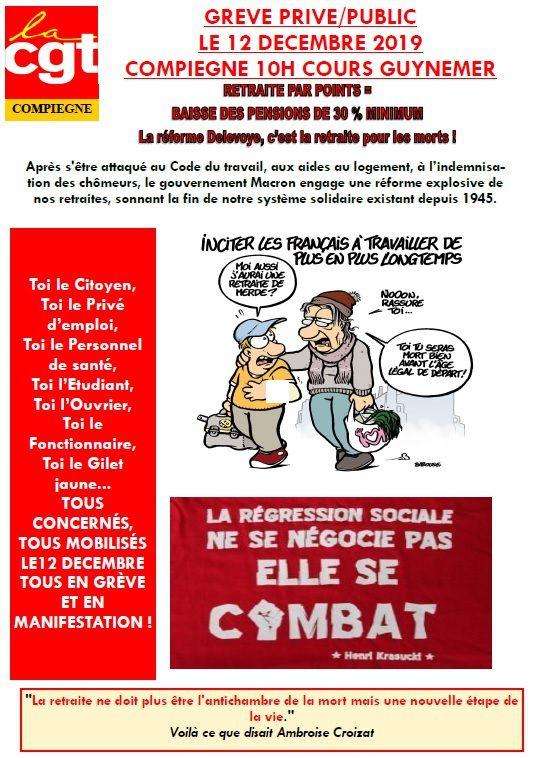 Manifestation à Compiègne jeudi 12 décembre