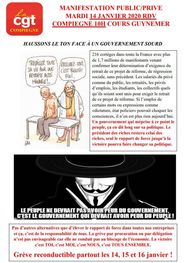 Manifestation et grève mardi 14 janvier à Compiègne