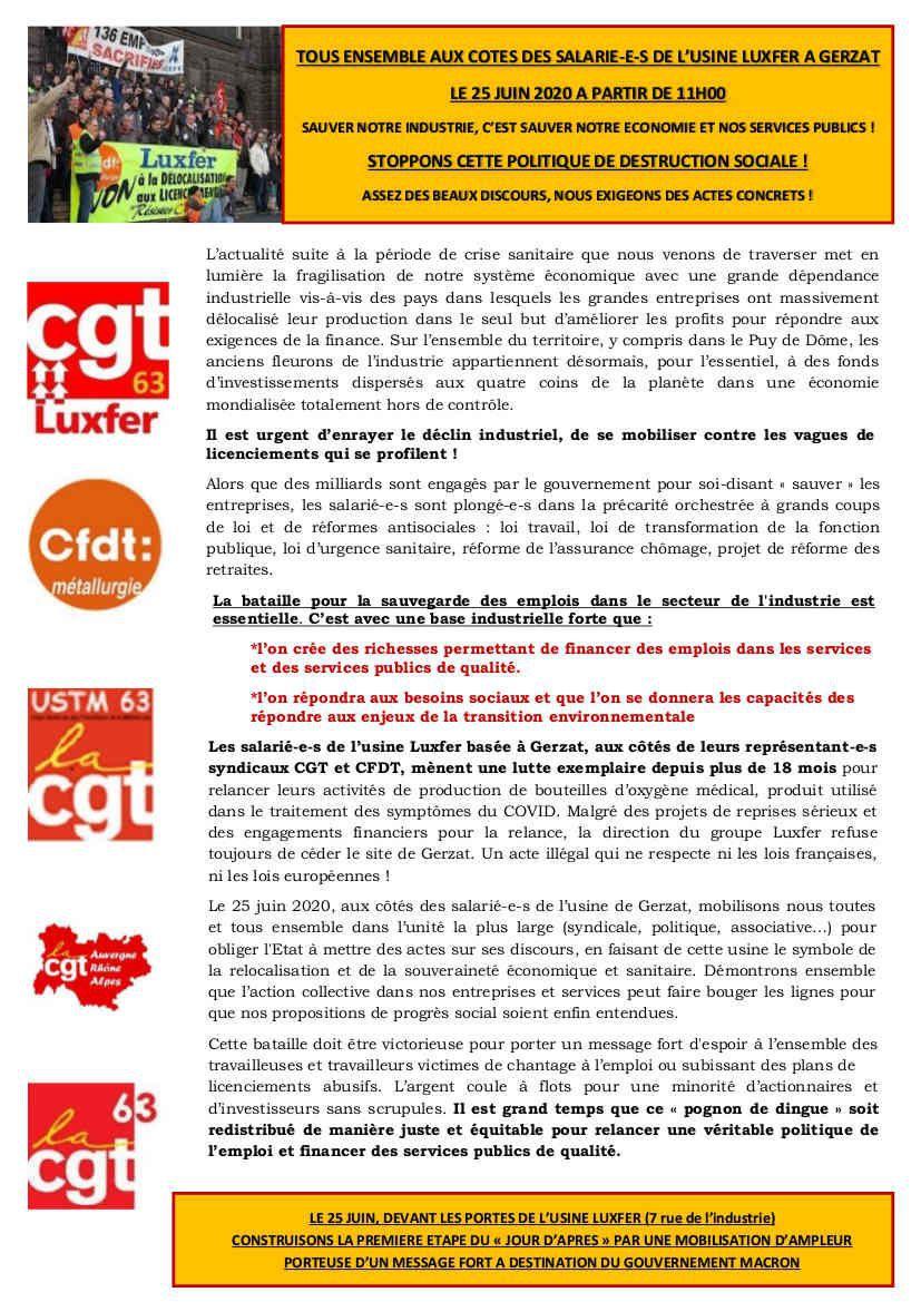 Gerzat (Puy-de-Dôme) : JEUDI 25 JUIN devant chez LUXFER !