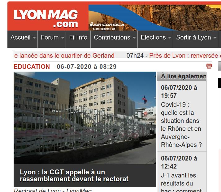 LYON : rassemblement devant le rectorat
