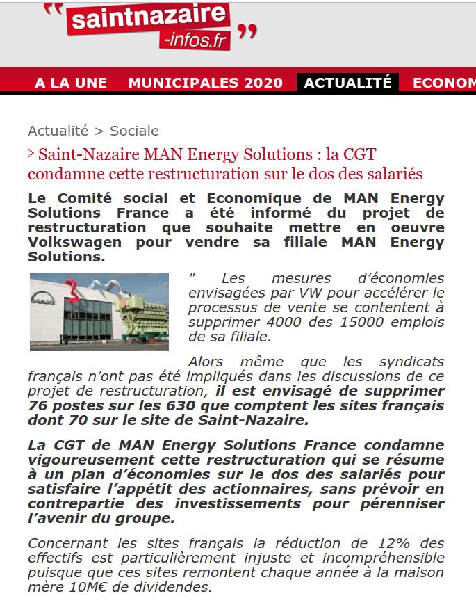 Volkswagen SAINT NAZAIRE : contre la restructuration et les licenciements !