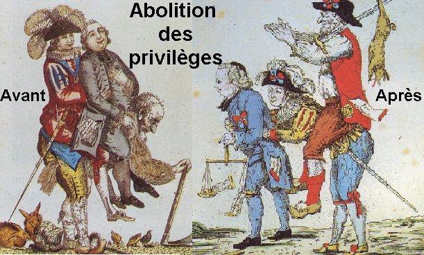 """La fameuse nuit du 4 août 1789 : c'est la """"grande peur""""de la classe dirigeante, ,face aux chateaux brulés par leurs paysans : nobles et clergé abandonnent leurs privilèges !"""