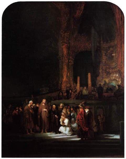 Jésus et la femme adultère par Rembrandt (National Gallery, London)