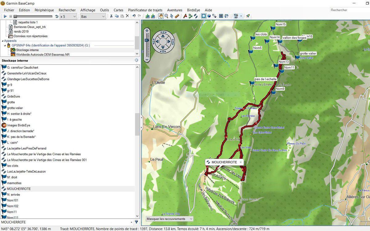 Le tracé du parcours en rouge de notre randonnée en boucle avec l'aller retour au Vertige des Cimes